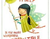 """Fairytale illustration print - 8""""x10"""" - Hans Christian Andersen quote with cute garden fairy"""