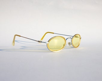 Authentic Vintage 90s Circle Sunglasses/  Oval Shades w Silver Tone Frame and Yellow Lens - NOS Dead Stock Seapunk /Grunge/Rave