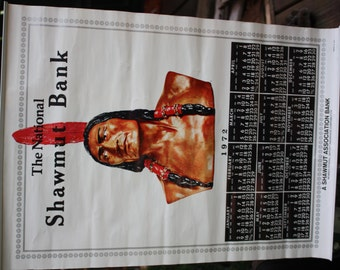 Vintage 1972 Shawmut Bank Wall Hanging Paper Ephemera Calendar Featuring A Native American Indian-Amazing detailed Collectible