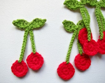 "1pc 3.5"" Crochet RED CHERRY Applique"