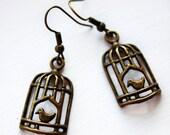 Bird Cage bronze earrings (PFC06B) birdcage earrings, silver, jewellery, jewelry