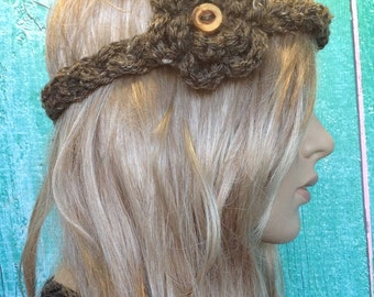 Crochet Flower  Taupe Brown Braided Braid Headband with Wood Button
