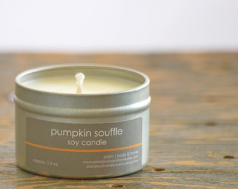 SALE - Pumpkin Souffle Soy Candle Tin 4 oz. - pumpkin pie candle - fall soy candle - holiday soy candle - food soy candle - fall candle
