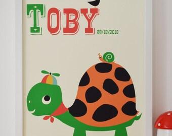 Personalised Travelling Tortoise Nursery Name Print,  Letter T, Personalised Fun Print, New Baby name print Gift Turtle Print, Nursery Art