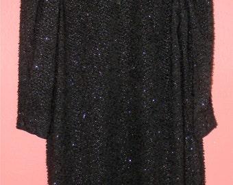 S M Small Medium Vintage Dress 70s Black SHEER Disco Shift Metallic Fuzzy Leslie Fay Indie Hipster Alternative Chic LBD Little Black Dress