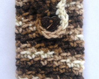 Cell Phone Camera Case Holder Pouch- Brown Crochet with Coconut Heart Button