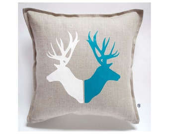 Deer print pillow cover hand painted on gray linen - pillow case housewarming or birthday gift cushion 16x16  0130