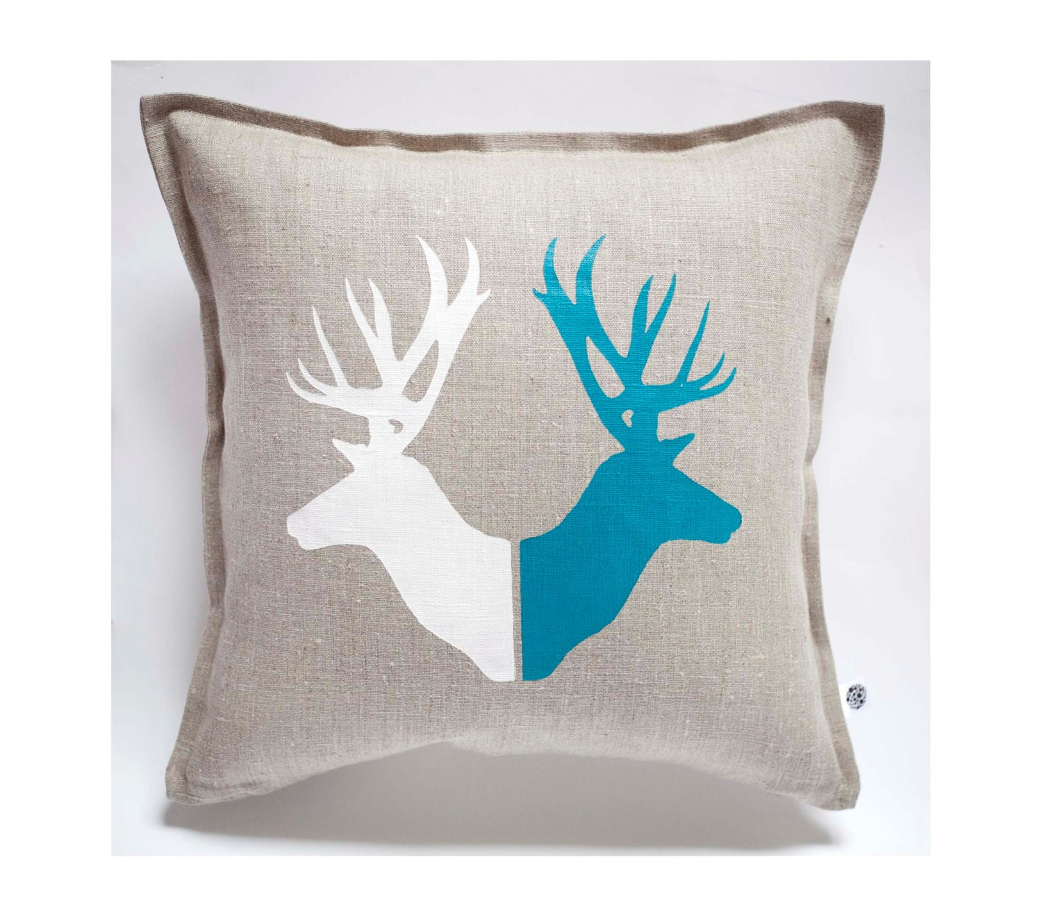 Deer print pillow cover hand painted on gray linen pillow for Hand painted pillows
