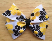 25% OFF Yellow & black flower hair bow