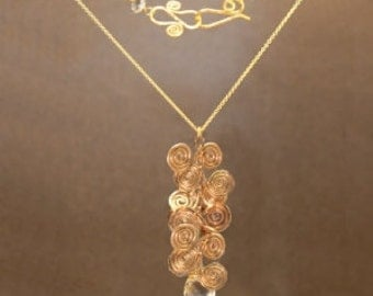 Hammered spirals with choice of gemstone Necklace 213