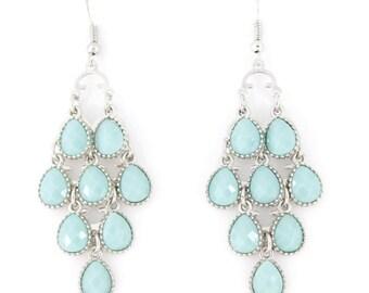 Silver-tone Beautiful Chandelier Style Blue Earrings A2