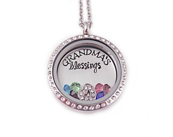 Personalized Grandma's Blessings Love Locket - Engraved Necklace - Birthstone Necklace - Charm Locket - Grandma Birthstone Jewelry - 1090