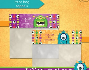 Lil' Monsters Treat Bag Toppers • PRINTABLE Birthday • by The Occasional Day