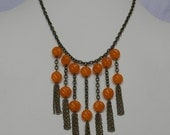 Orange Glass and Brass Fringe Chain Necklace