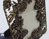Brass-Colored, Peony-Decorated Vintage Frame For Photo Or Artwork