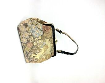 1960s Floral Tapestry Handbag - Structured Shabby Bag - Needlepoint Floral Handbag