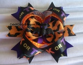 Halloween Bat Hair bow Girls Purple Orange Black - CuteNCurlyBowtique