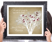Two Hearts, 50th Wedding Anniversary, Gift for Grandparents, Family Tree Print Birds, Personalized Gift for Husband Wife, 8x10