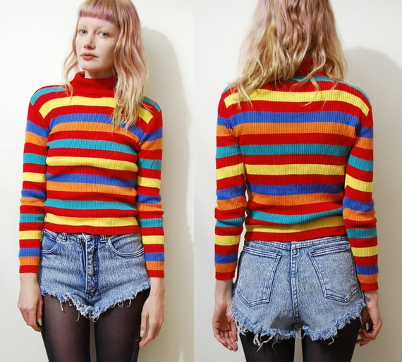 Vintage striped sweater 90s vintage ribbed knit tight fitted skivvy