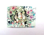 Small flower portrait artist trading card ACEO. Contemporary art card illustration Artist trading card abstract art card