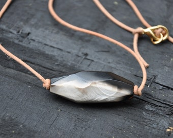 Mocha Agate and Leather Necklace