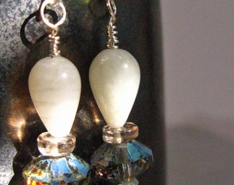 Iris Earrings - milky indigo - teardrop and facets