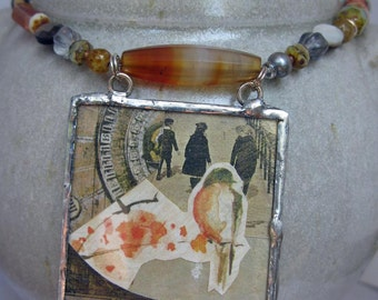 Penzance Promenade Necklace - autumn colors - statement necklace - glass pendant