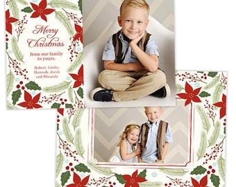 Christmas Card Template for Photographers Photo Card Template - HC219