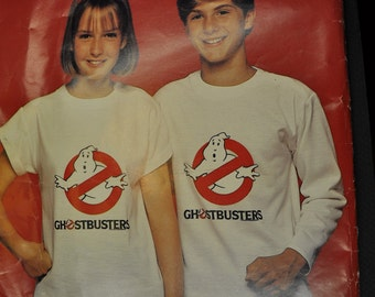 Ghostbusters Girls & Boys T-Shirt UNCUT Butterick 996 Sewing Pattern - Size Small to Large, with Ghostbusters Logo Iron On Transfer