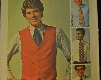 Men's Jiffy Vest and Tie Vintage 1970s Sewing Pattern Simplicity 7701  Size 40