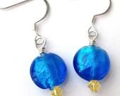 Blue and Yellow Earrings, Glass Beaded Earrings, Blue Earrings, Blue Beaded Earrings, Blue Dangle Earrings, Blue Drop Earrings, Small Dangle