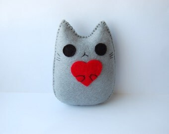 I love you with all my heart cute cat handmade plush doll
