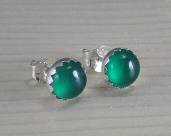 Green Onyx Stud Earrings Sterling Silver - Green Onyx Posts