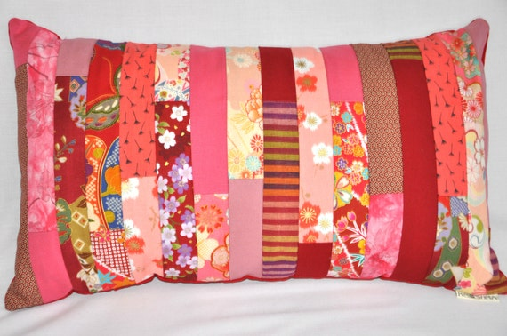Stripe Cushion Cover Patchwork modern floral pretty feminine romantic bold bright vintage look statement vibrant red pink floral flowers