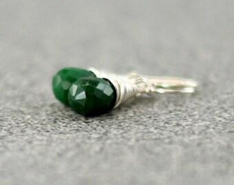 Emerald Earrings, Sterling Silver Genuine Emerald Earrings May Birthstone Green Emerald Dangle Earrings Wire Wrapped