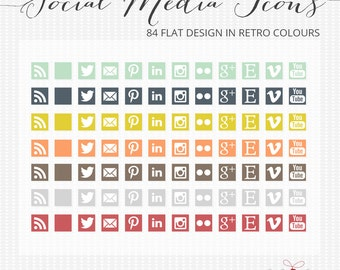 Social media icons - 84 Flat design retro social media icons for blogs and web