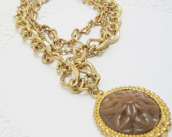 Estrucian Style Heavy Three Chain Pendant with Medallion
