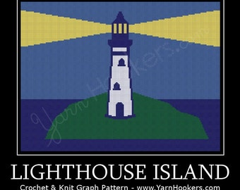 Lighthouse Island - Afghan Crochet Graph Pattern Chart by Yarn Hookers
