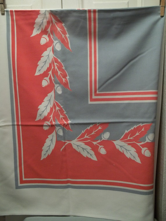 Vintage Fall Autumn  Floral Tablecloth 1950's