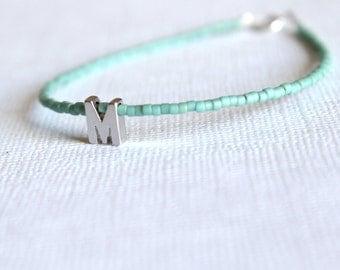 Initial bead bracelet -Personalized Friendship Bracelet-Tiny Letter Initial Bracelet-Rhodium Monogram Bracelet-Silver Name bracelet