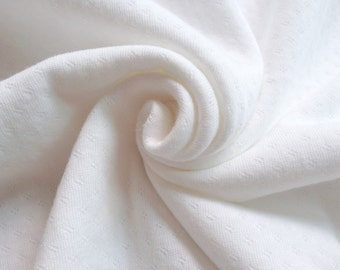Stretch Cotton Pointelle Knit - White Ivory - By the Yard 42571