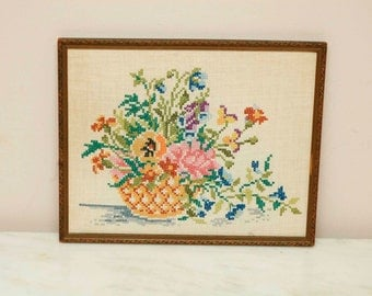 Vintage Floral Bouquet Needlepoint Cross Stitch Gold Ornate Frame 1950s