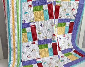 Baby Quilt featuring Bundle of Joy by Timeless Treasures Blue Purple Red Yellow Green White
