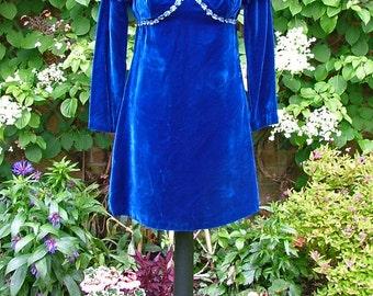 Behind Blue Eyes-60s Cobalt Blue Velvet Leg O' Mutton Sleeve Mini Dress
