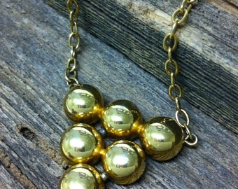 Vintage Gold tone brass Necklace with geometric triangle balls pendant - Monet