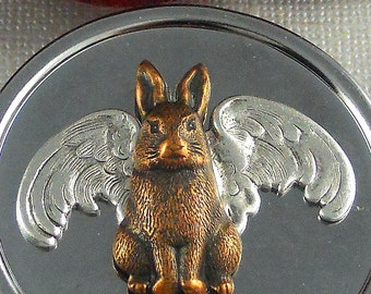 Owl Rabbit Wings Pill Box, Ox Silver Antique Finished,  Bird Feathers, Bunny Hare,Round Victorian Inspired Pill case