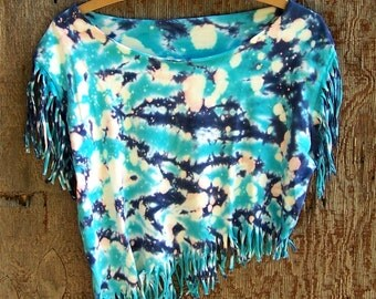 Cropped tee upcycled reconstructed asymmetrical T shirt tie dye fringe shirt crop top blue teal turquiose tank top