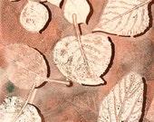 "Fall Leaves, ORIGINAL MONO PRINT, 16"" x 20"" Standard Frame size,   Red, Brown, Green,  contemporary art, gift idea, home decor"