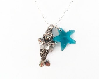 Mermaid Fairy Necklace with Crystal Starfish