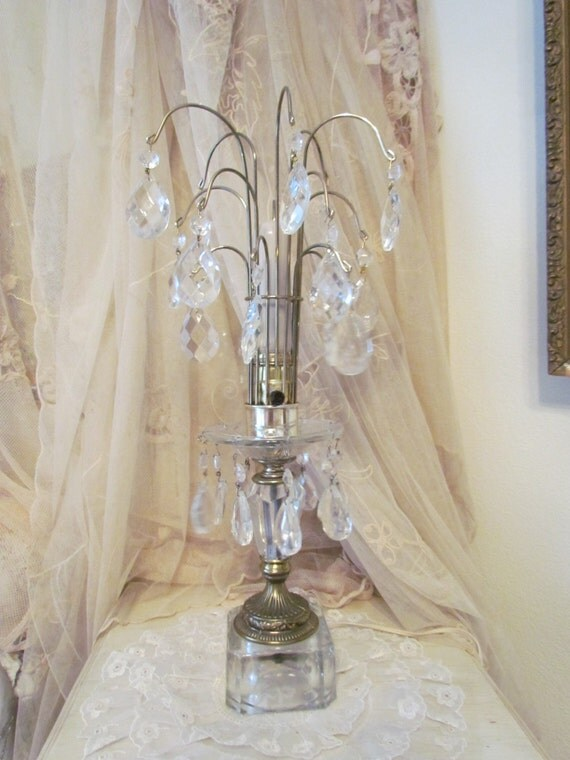 Vintage art deco crystal waterfall boudoir lamp by for Waterfall design etsy